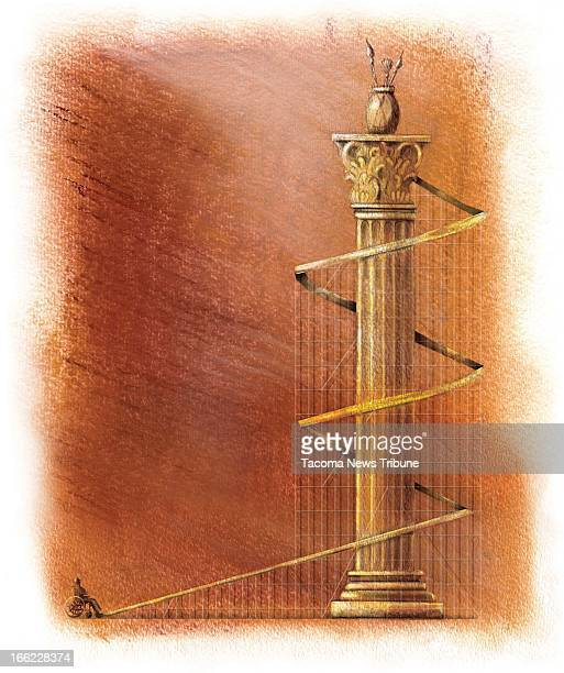 Fred Matamoros color illustration of wheelchairbound person waiting at the bottom of a long winding ramp up a column with vase of brushes...