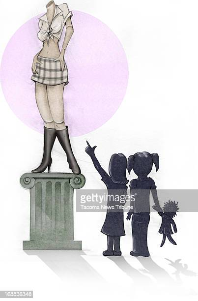 Fred Matamoros color illustration of young girls looking up to a mannequin on pedestal dressed in haltertop miniskirt and boots The News Tribune...