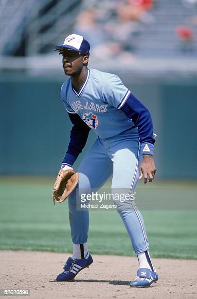 Fred McGriff of the Toronto Blue Jays fields during a season game on May 17 1987 at the Oakland Coliseum in Oakland California Fred McGriff played...