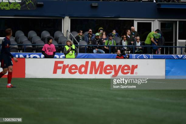 Fred Meyer ad board seen during a MLS match between the Chicago Fire and the Seattle Sounders at Century Link Field in Seattle WA
