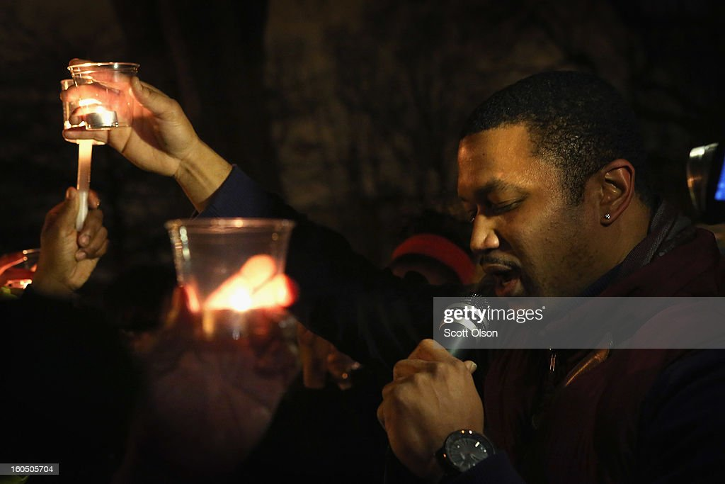 Fred Minnis leads a candle light vigil at Harsh park to honor Hadiya Pendleton on February 1, 2013 in Chicago, Illinois. Pendleton, a fifteen-year-old high school honor student, was shot and killed while hanging out with friends on a rainy afternoon under a shelter in the park on January 29. A $40,000 reward has been raised to help find her killer. Pendleton was the 44th homicide recorded in Chicago for 2013.