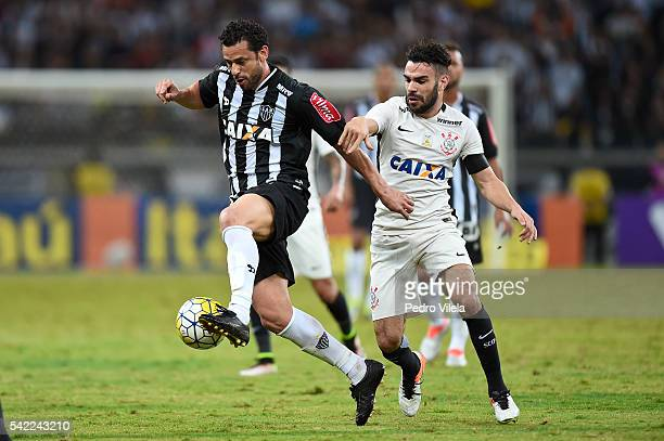 Fred of Atletico MG and Bruno Henrique of Corinthians battle for the ball during a match between Atletico MG and Corinthians as part of Brasileirao...