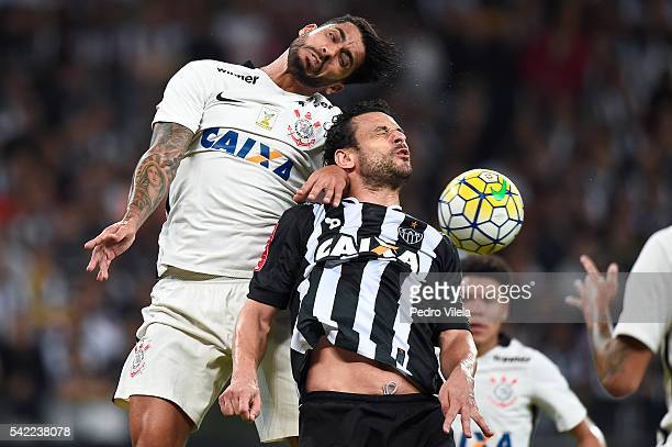 Fred of Atletico MG and Vilson of Corinthians battle for the ball during a match between Atletico MG and Corinthians as part of Brasileirao Series A...