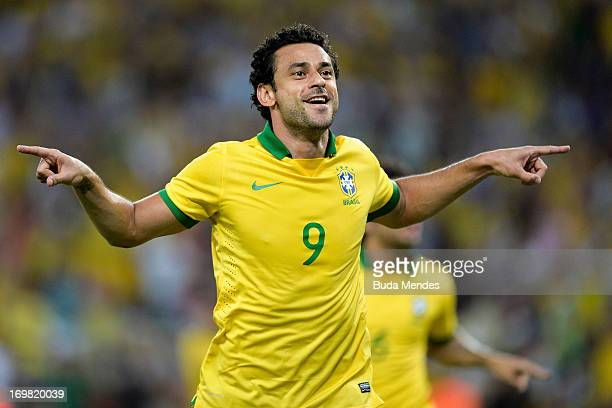Fred of Brazil celebrates a scored goal during the International friendly between Brazil and England at Maracana Stadium on June 02 2013 in Rio de...