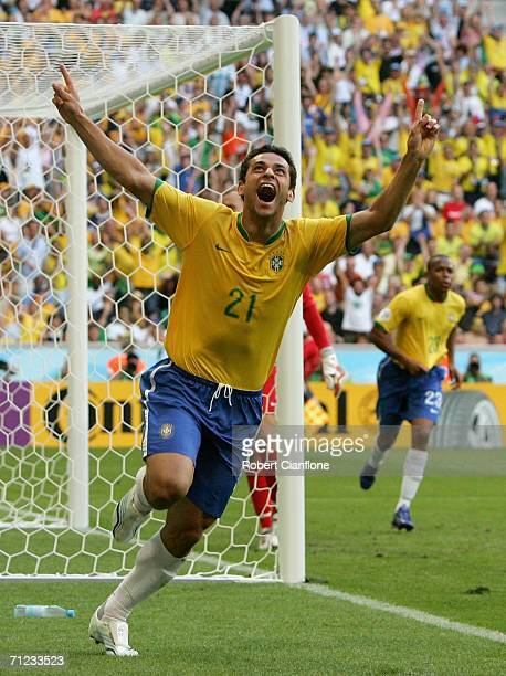 Fred of Brazil celebrates after scoring the second goal of the game during the FIFA World Cup Germany 2006 Group F match between Brazil and Australia...