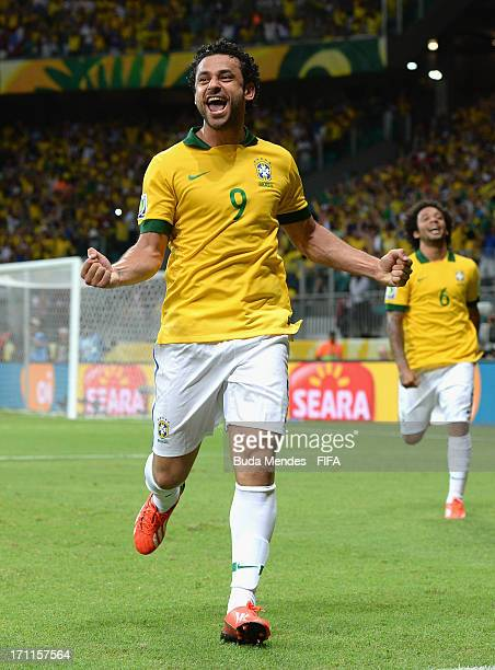 Fred of Brazil celebrates as he scores their fourth goal during the FIFA Confederations Cup Brazil 2013 Group A match between Italy and Brazil at...