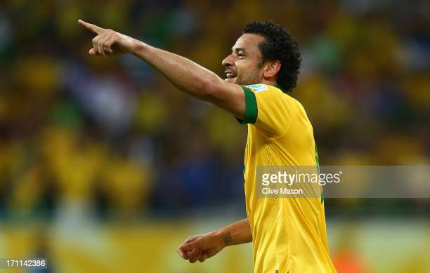 Fred of Brazil celebrates as he scores their third goal during the FIFA Confederations Cup Brazil 2013 Group A match between Italy and Brazil at...