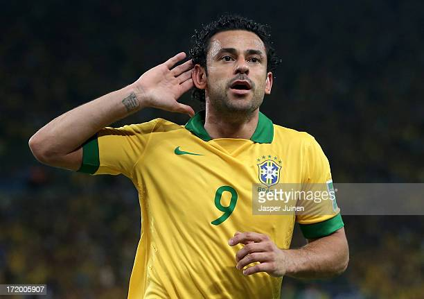 Fred of Brazil celebrates scoring his team's third goal to make the score 30 during the FIFA Confederations Cup Brazil 2013 Final match between...
