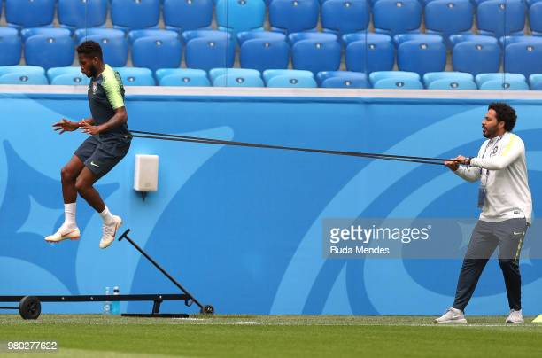 Fred of Brazil jumps during a Brazil training sessoin during the FIFA World Cup 2018 at Saint Petersburg Stadium on June 14 2018 in Saint Petersburg...