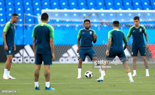 Fred of Brazil passes the ball during a drill during a Brazil training session ahead of the FIFA World Cup 2018 at Rostov Arena on June 16 2018 in...