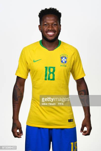 Fred of Brazil poses for a portrait during the official FIFA World Cup 2018 portrait session at the Brazil Team Camp on June 12 2018 in Sochi Russia