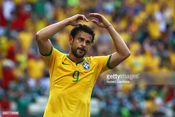 Fred of Brazil reacts during the 2014 FIFA World Cup Brazil Group A match between Brazil and Mexico at Castelao on June 17 2014 in Fortaleza Brazil