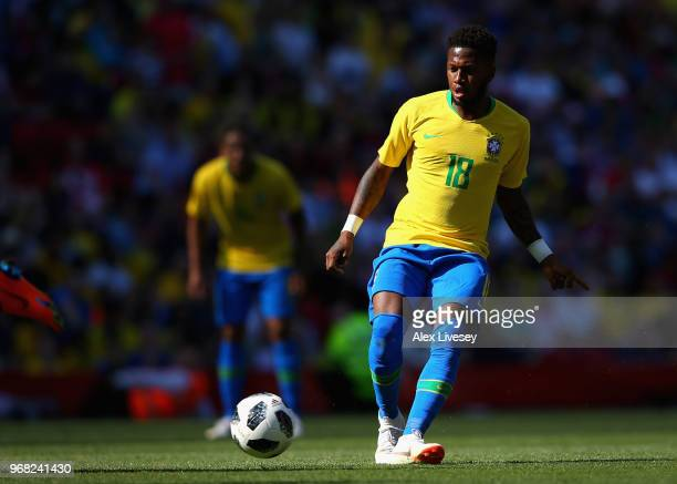 Fred of Brazil runs the ball during the International friendly match between of Croatia and Brazil at Anfield on June 3 2018 in Liverpool England
