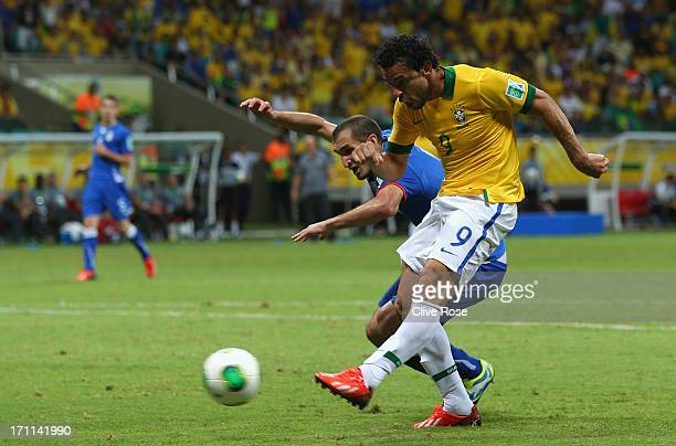 Fred of Brazil scores their third goal during the FIFA Confederations Cup Brazil 2013 Group A match between Italy and Brazil at Estadio Octavio...