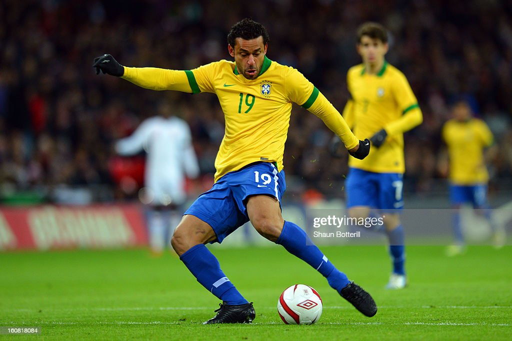 Fred of Brazil shoots to score the equalising goal during the International friendly between England and Brazil at Wembley Stadium on February 6, 2013 in London, England.