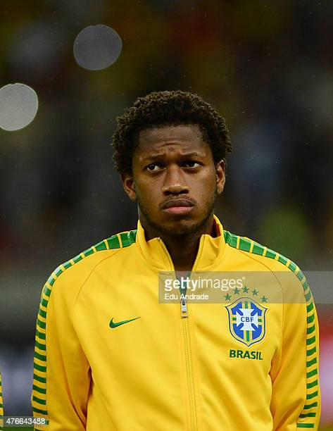 Fred of Brazil stands for the national anthem prior to the international friendly match between Brazil and Honduras at Beira Rio Stadium on June 10...