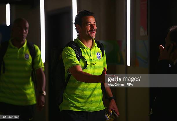 Fred of Brazil walks out to the pitch prior to the 2014 FIFA World Cup Brazil Round of 16 match between Brazil and Chile at Estadio Mineirao on June...