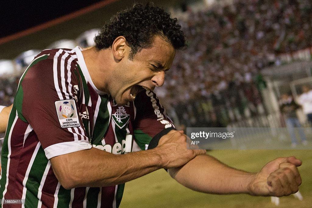 Fred of Brazilian Fluminense celebrates after scoring against Ecuador's Emelec during their Copa Libertadores match at Sao Januario stadium in Rio de Janeiro, Brazil on May 08, 2013.