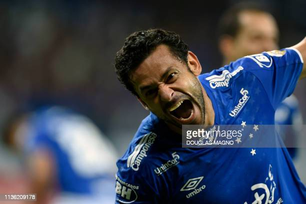 Fred of Brazil's Cruzeiro celebrates after scoring against Argentina's Huracan during their 2019 Copa Libertadores football match at Mineirao Stadium...