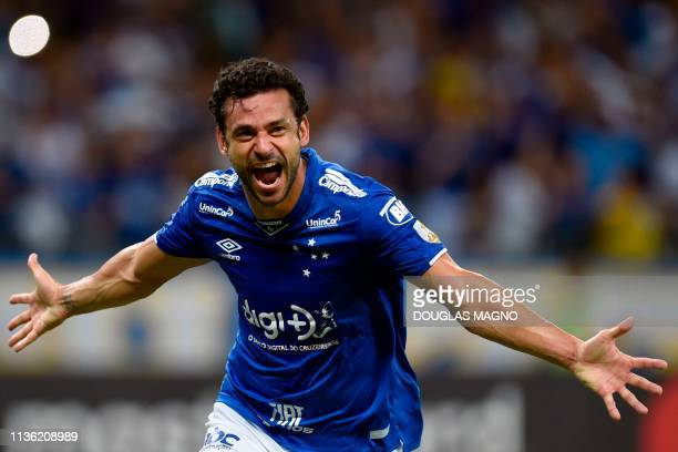 Fred of Brazil's Cruzeiro celebrates his goal against Argentina's Huracan during their 2019 Copa Libertadores football match at Mineirao Stadium in...