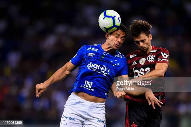 Fred of Cruzeiro and Rodrigo Caio of Flamengo battle for the ball during a match between Cruzeiro and Flamengo as part of Brasileirao Series A 2019...