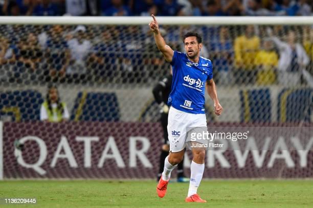 Fred of Cruzeiro celebrates a scored goal against Huracan during a match between Cruzeiro and Huracan as part of Copa CONMEBOL Libertadores 2019 at...