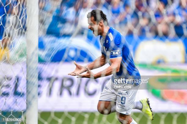 Fred of Cruzeiro celebrates a scored goal against Santos during a match between Cruzeiro and Santos as part of Brasileirao Series A 2019 at Mineirao...