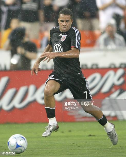 Fred of D.C. United catches up to a loose ball during an MLS match against the New York Red Bulls at R.F.K stadium on June 14, 2008 in Washington...