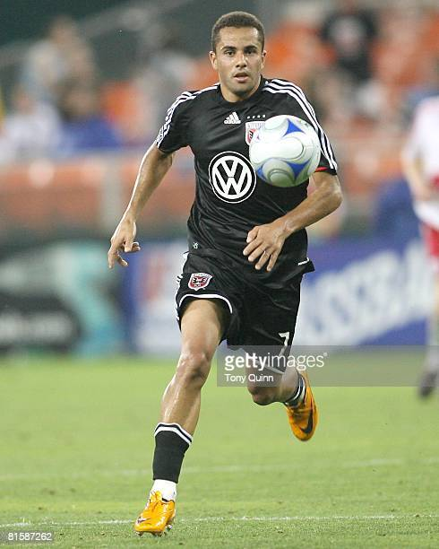 Fred of D.C. United moves into the attack during an MLS match against the New York Red Bulls at R.F.K stadium on June 14, 2008 in Washington D.C....
