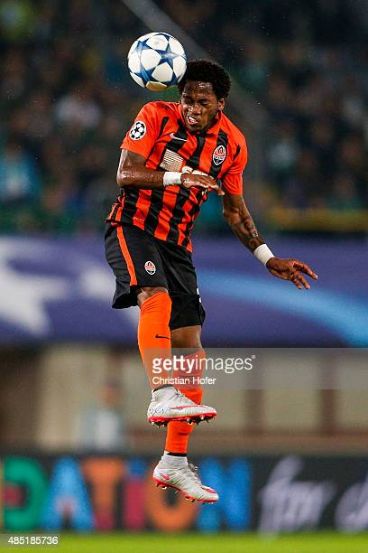 Fred of Donetsk goes for a header during the UEFA Champions League Qualifying Round Play Off First Leg match between SK Rapid Vienna and FC Shakhtar...