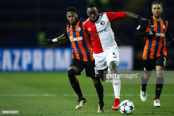 Fred of FC Shakhtar Donetsk Ridgeciano Haps of Feyenoord during the UEFA Champions League group F match between Shakhtar Donetsk and Feyenoord...