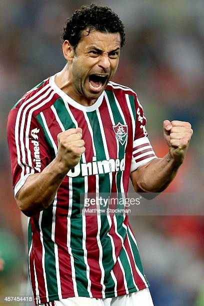 Fred of Fluminense celebrates a goal against Criciuma during a match between Fluminense and Criciuma as part of Brasileirao Series A 2014 at Maracana...