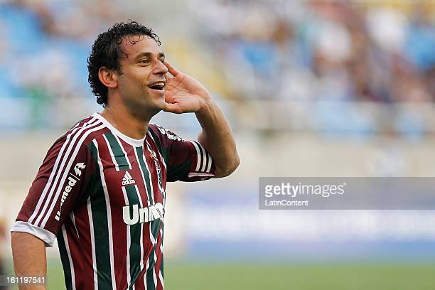 Fred of Fluminense celebrates a goal during the match between Fluminense and Vasco da Gama as part of Campeonato Carioca 2013 at Engenhão Stadium on...