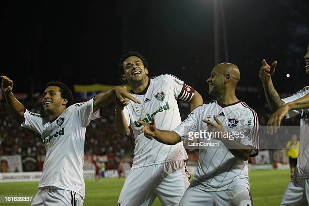 Fred of Fluminense celebrates a goal with his teammates during a game between Fluminense FC and Caracas as part of the Copa Bridgestone Libertadores...