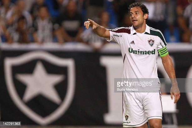 Fred of Fluminense celebrates a scored goal againist Botafogo during a match between Fluminense and Botafogo as part of Rio State Championship 2012...