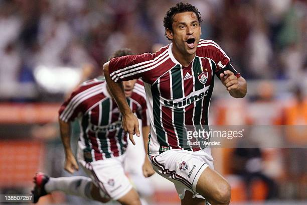 Fred of Fluminense celebrates a scored goal against Arsenal FC during a match between Fluminense and Arsenal FC as part of Santander Libertadores Cup...