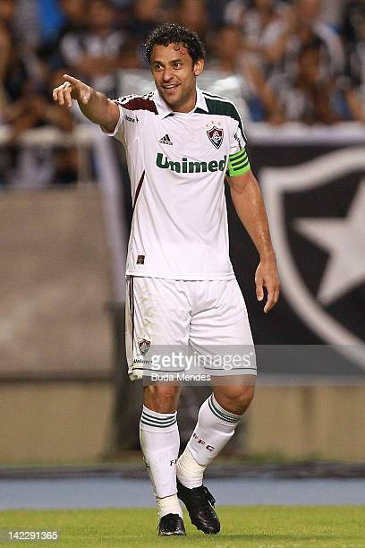 Fred of Fluminense celebrates a scored goal against Botafogo during a match between Fluminense and Botafogo as part of Rio State Championship 2012 at...