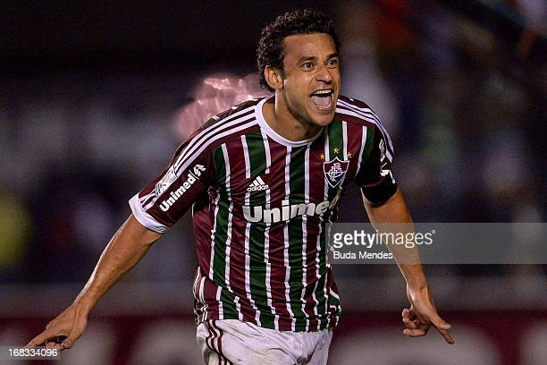 Fred of Fluminense celebrates a scored goal against Emelec during the match between Fluminense and Emelec as part of Libertadores Cup 2013 at Sao...