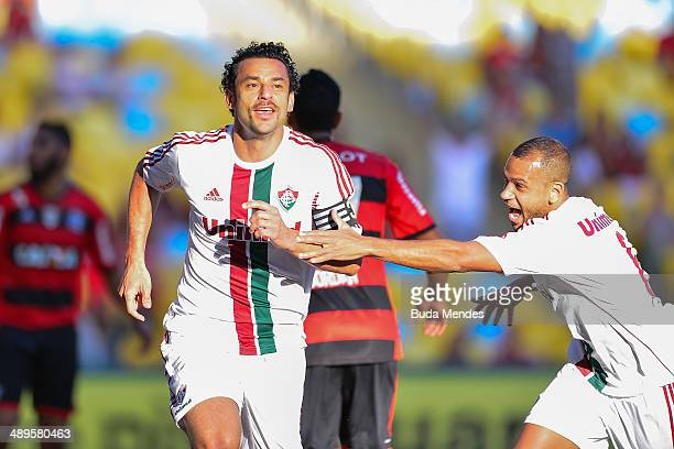 Fred of Fluminense celebrates a scored goal against Flamengo during a match between Fluminense and Flamengo as part of Brasileirao Series A 2014 at...