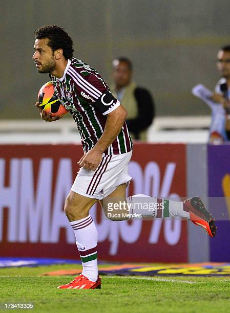 Fred of Fluminense celebrates a scored goal during the match between Fluminense and Internacional a as part of Brazilian Championship 2013 at...