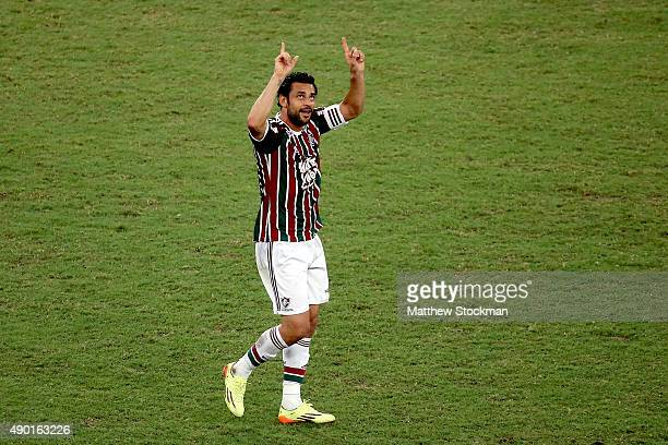 Fred of Fluminense celebrates after scoring a goal against Goias during a match between Fluminense and Goias as part of Brasileirao Series A 2015 at...