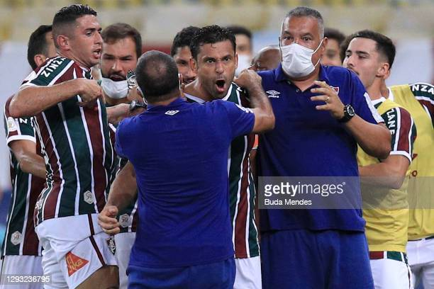 Fred of Fluminense celebrates with his teammates after scoring his team's first goal during a match between Fluminense and Sao Paulo as part of 2020...