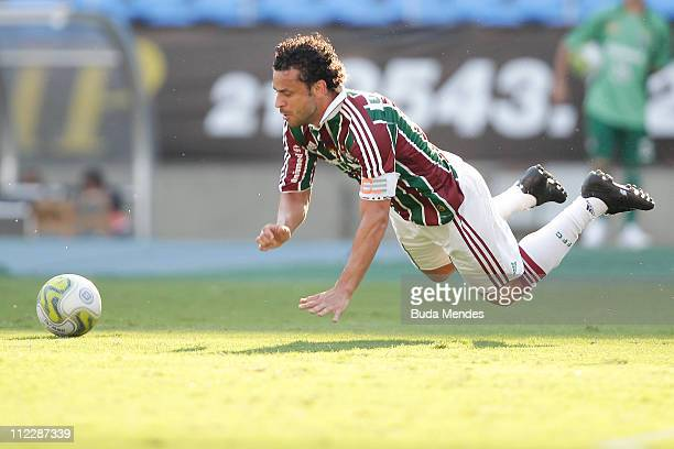 Fred of Fluminense struggles for the ball with a player of Nova Iguaçu during a match as part of Rio de Janeiro State Championship 2011 at Engenhao...