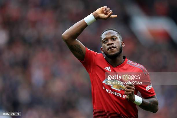 Fred of Man Utd celebrates after scoring their 1st goal during the Premier League match between Manchester United and Wolverhampton Wanderers at Old...