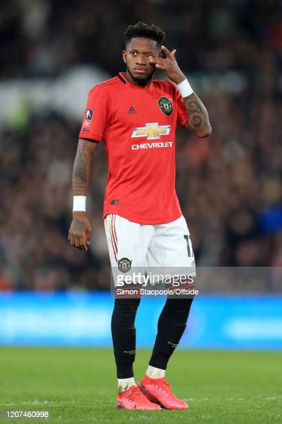 Fred of Man Utd looks dejected during the FA Cup Fifth Round match between Derby County and Manchester United at Pride Park on March 5 2020 in Derby...