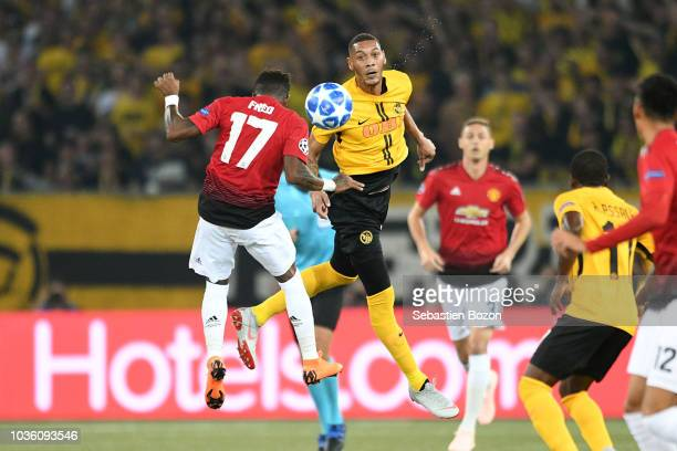 Anthony Martial of Manchester and Paul Pogba of Manchester celebrate during the Champions League match between Young Boys Bern and Manchester United...