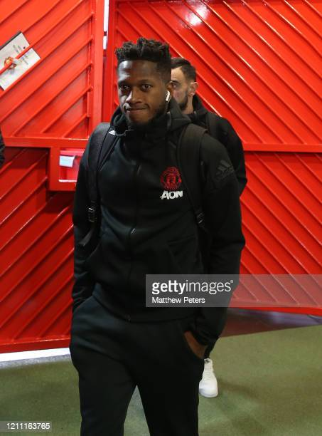 Fred of Manchester City arrives ahead of the Premier League match between Manchester United and Manchester City at Old Trafford on March 08 2020 in...