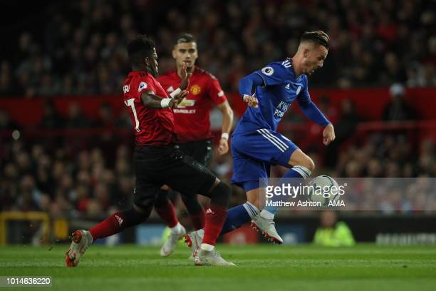Fred of Manchester United and James Maddison of Leicester City during the Premier League match between Manchester United and Leicester City at Old...