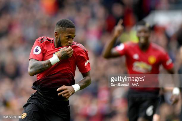 Fred of Manchester United celebrates after scoring a goal to make it 10 during the Premier League match between Manchester United and Wolverhampton...