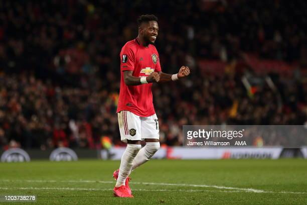 Fred of Manchester United celebrates after scoring a goal to make it 5-0 during the UEFA Europa League round of 32 second leg match between...